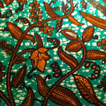 Dutch African Wax Print Fabric by the HALF YARD. Green, Brown, and Rust Vines