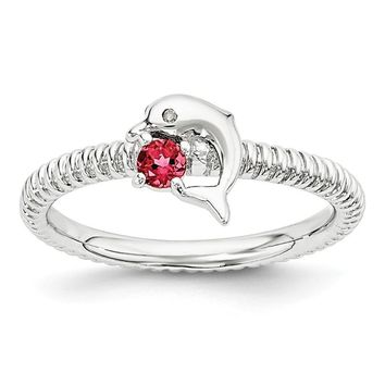 Sterling Silver Stackable Expressions Ruby & Diamond Dolphin Ring