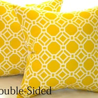 Pillow cover 18 x 18,Yellow geometric accent pillow cover 18 x 18 Double Sided