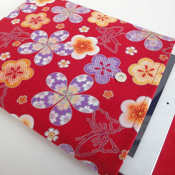 iPad Sleeve - iPad Case - iPad Cover - Padded Tablet case Flap Closure - Kimono pattern fabric butterfly & plum bloosom red