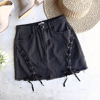 gigi denim lace-up skirt - black
