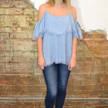 Ruffled Denim Top: Denim Blue