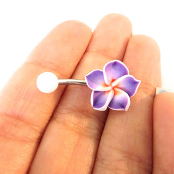 Purple Hawaiian Flower Plumeria Belly Button Ring Hawaii Navel Stud Jewelry Bar Barbell Piercing Pink Tropical Hibiscus