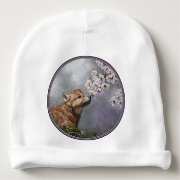 Wolf Pup and Flowers Baby Beanie