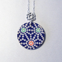 Blue and white, washi pendant, geometric, Chiyogami, resin, Japan inspired jewelry, silver plated chain, birch wood circle, flower