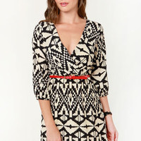 Fatal Abstraction Black and Beige Print Dress