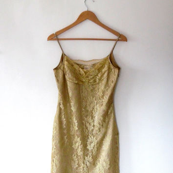 Gold lace floral dress / lined / shift dress / silky / satin dress / vintage / 90s / sheer lace / evening dress / strappy / lace mini dress