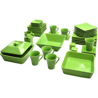 Bold Green Elegant Square Banquet 45-Piece Dinnerware Serving Set