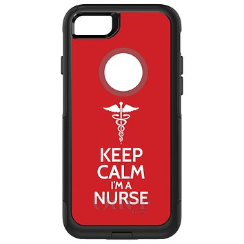 "DistinctInk™ OtterBox Commuter Series Case for Apple iPhone or Samsung Galaxy - Red White ""Keep Calm Im a Nurse"""