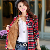 Tops Blusa Camisa Femininas Autumn winter warm cotton long-sleeved thick velvet women's plaid shirt  flannel  office shirts