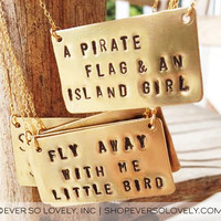 fly away with me little bird - handmade gold bar statement necklace