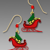 Sienna Sky Earrings - Red Christmas Sleigh with Tree and Gifts
