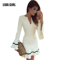 Liva Girl 2016 Womens Autumn Sexy Dresses Party Night Club Dress Long Sleeve V-Neck White Sundress Wear To Work Office Dresses