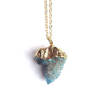 Spirit quartz aqua aura necklace blue gold cactus