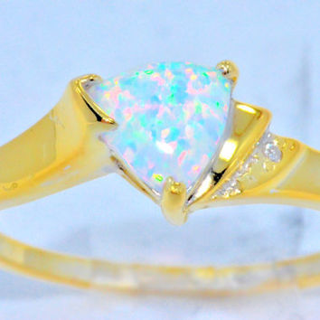 Opal Trillion Diamond Ring 14Kt Yellow Gold Plated
