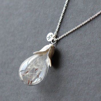 Dandelion seed necklace Make A Wish glass bead orb, transparent round initial necklace,bridesmaid gifts, real plant necklace good luck charm