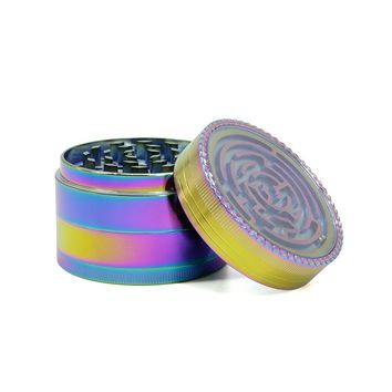 Rainbow Maze Grinder 4 Layers Pipes for Smoking Weed  Tobacco Smoke Detectors Pipe Grinding Smoke Crusher Narguile