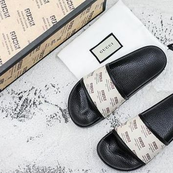 Gucci Stamp Print Slide Slippers - Best Deal Online