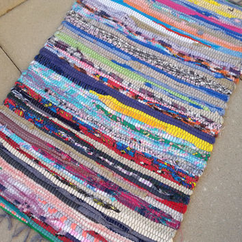 Rag Rug Welcome Mat, Bathroom Rug, Small Kitchen Rugs, Boho Chic Hippie Mat