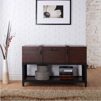 Transitional Console Table Living Room Furniture Vintage Walnut And Black Finish