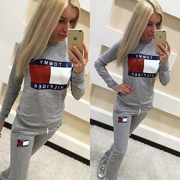 """Tommy Jeans"" Fashion Casual Multicolor Pattern Letter Print Long Sleeve Set Two-Piece Sportswear"