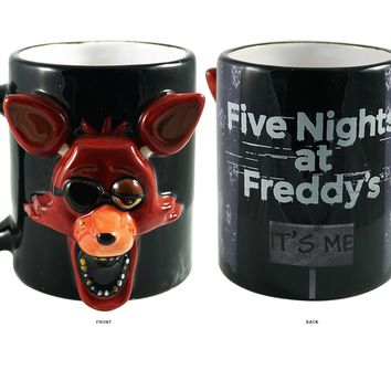 OFFICIAL Five Night's at Freddy Foxy Face Molded Black Ceramic Coffee Mug /Cup  - Carnival Mug  Gifts