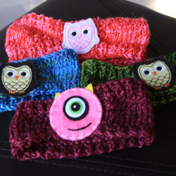 Knit Headbands with Owl Applique, Ear Warmers / Ready to Ship!