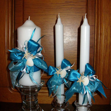 Rustic Wedding Unity Candles, Seashells Decorated, Pillar Candle, Taper Candles, Handmade Candles, Personalized Candles, Unity Candle Set