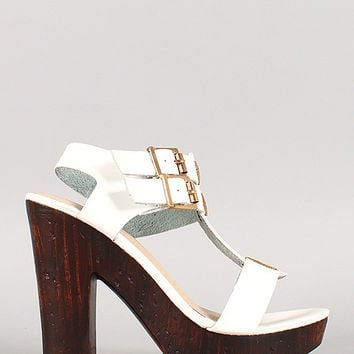 Bamboo Double Buckle T-Strap Faux Wood Heels