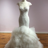 SayIDo:  Couture Wedding Dress in Lace and Wave Organza