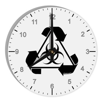 "Recycle Biohazard Sign Black and White 8"" Round Wall Clock with Numbers by TooLoud"