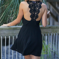 Wet Sand Black Slipped Dress With Solid Crochet Back