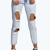 Millie Mid Rise Ice Wash Distressed Hem Jeans