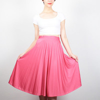 Vintage 70s Skirt Melon Rose Pink Midi Skirt 1970s Skirt High Waisted Disco Skirt Pleated Skirt Knee Length Skirt Classic Simple S Small