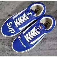 """vans+champion+supreme"" Fashion Women/man Running Sport Casual Shoes Sneakers blue"
