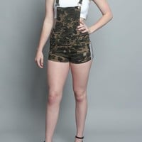 Double Striped Camo Overall Shorts