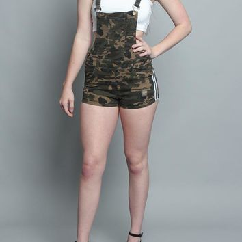 Double Striped Camo Overall Shorts RJSO650 - KK13D