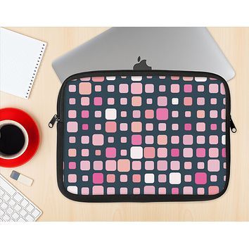 The Scattered Pink Squared-Polka Dots Ink-Fuzed NeoPrene MacBook Laptop Sleeve
