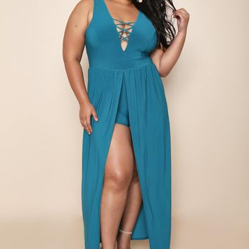 Nightclub Romper Lace Up Plus Size Maxi Dress