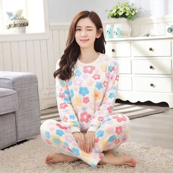 Warm Pajama Long Sleeve Winter Coral Fleece Sleepwear