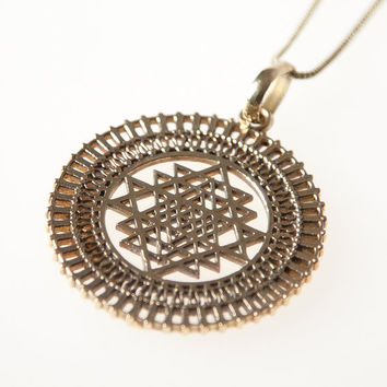 Sri Yantra Brass Pendant, Necklace, Sacred Geometry, Brass Pendant, brass jewellery, Indian Jewellery, Gypsy jewellery, boho jewellery.