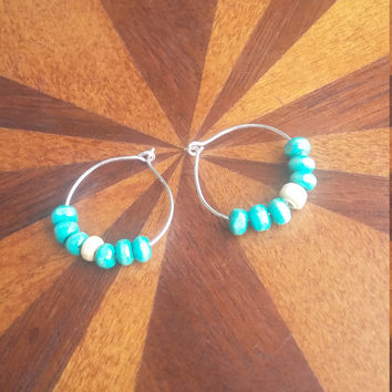 Green and white wooden bead hoop earrings