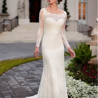 [223.99] Elegant Lace Scoop Long Sleeves Wedding Dress With Covered Buttons - dressilyme.com