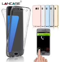 LANCASE Case For Samsung Galaxy S8 S7 Edge Case Silicone Clear TPU Full Body Touch Protective Cover For Samsung S8 S7 S5 S6 Case