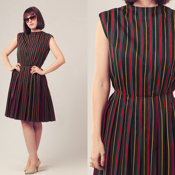 50s Black Sleeveless Dress / Striped Pleated Dress / Fitted Waist Circle Skirt Dress
