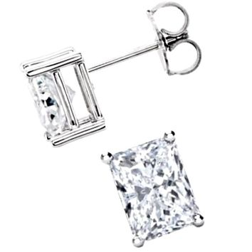 18k Layered Sterling Silver 1ct CZ Emerald Cut Solitaire Unisex Prong Setting Stud Earring