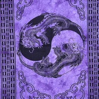 Purple Dragon Bohemian Fabric Tapestry