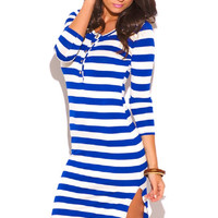 Nautical Royal Blue White Striped Slit Henley Fitted Lounge - Beach Shirt Dress
