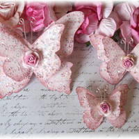Vintage Chic Script Shabby Handmade Butterflies for Scrapbooking, Altered Art, Cardmaking, Mixed Media Pretty Pink