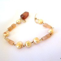 Peach pearl and moonstone stacking bracelet, gold fill toggle clasp bracelet, gift for her